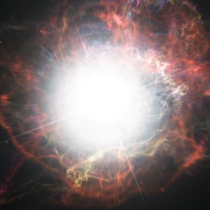 Artist's impression of dust formation around a supernova explo